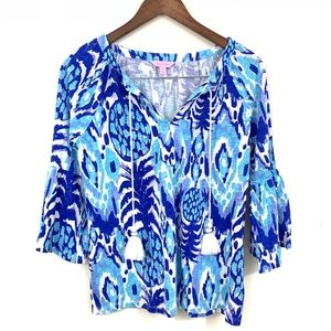 Lilly Pulitzer Top w/ Bell Sleeve & Tassels